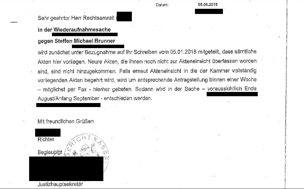Steffen Brunner Wiederaufnahmeantrag