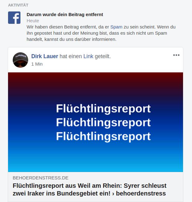 Flüchtlingsreport auf FB gelöscht