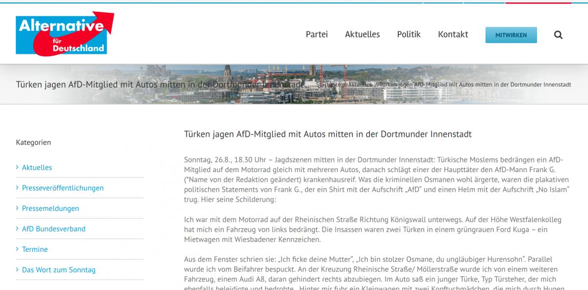 AfD Dortmund Screenshot Hemepage